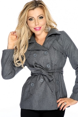 AMI Clubwear - Charcoal Double Breasted Side Pockets Coat
