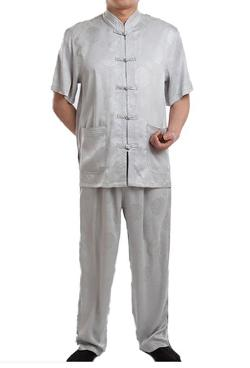 WantDo Tang Suit  - Chinese Short Sleeve Tang Suit Silk Uniform