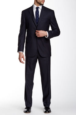 David Donahue  - Ryan Solid Notch Lapel Classic Fit Wool Suit