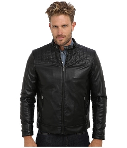 Calvin Klein  - Part Quilted Faux Leather Moto Jacket