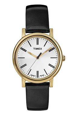 Timex - Round Patent Leather Strap Watch