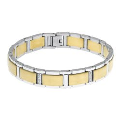 Mens - 1/7 CT. T.W. Diamond Stainless Steel Gold-Tone IP Link Bracelet