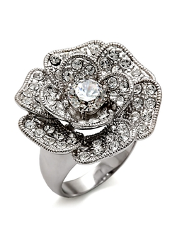 Michela - Pave Crystal Flower Ring