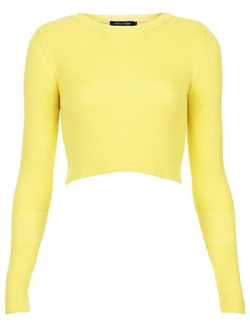 Difyou - Cropped Knitwear Sweater