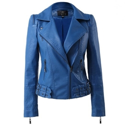 LingLuoFang - Faux Leather Moto Jacket