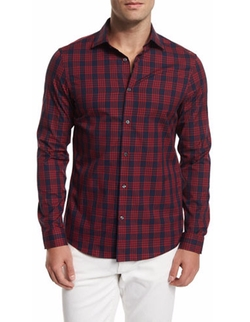 Michael Kors - Plaid-Check Long-Sleeve Sport Shirt