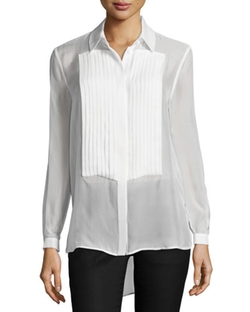 Haute Hippie - Pleated Front Sheer Silk Tux Blouse