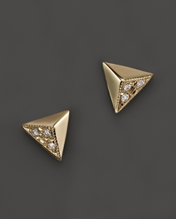 Zoë Chicco - Triangle Pyramid Pavé Stud Earrings