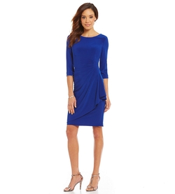 Alex Evenings  - Rhinestone-Trim Ruched Dress
