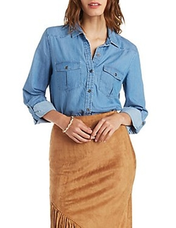 Charlotte Russe - Flap Pocket Chambray Shirt