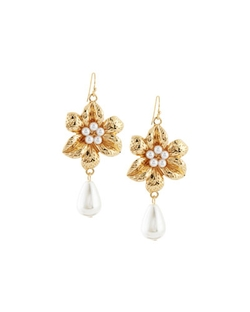 Fragments   - Flower & Pearl Dangle Earrings