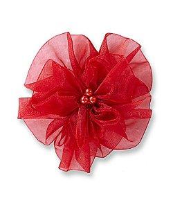 Copper Key  - Organza Wrap Flower Hair Clip