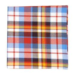 TheTieBar - Cotton Red and Powder Blue Nico Plaid Pocket Square