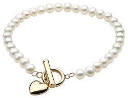 MyJewelryBox - White Freshwater Pearl Toggle Heart Bracelet