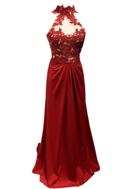 Charisma Dress - Lace Sheer High Neck Red Elegant Prom Dress