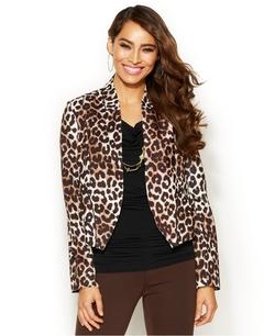 Thalia Sodi - Leopard-Print Cropped Scuba Blazer