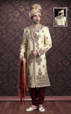 Salwar Kameez - Cream & Maroon Jacquard Sherwani