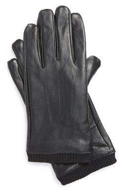 Topman  - Touch Screen Black Leather Gloves