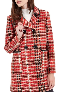 Topshop - Check Double Breasted Coat