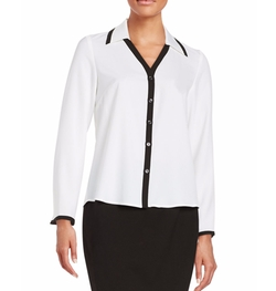 Nipon Boutique - Collared Crepe Button-Front Shirt