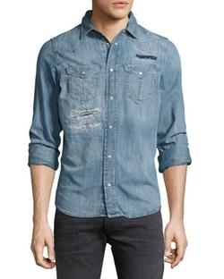 Diesel - Distressed Denim Western Shirt