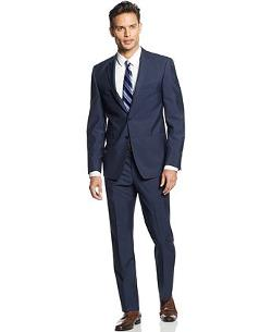 Andrew Fezza  - Suit Navy Blue Mini-Stripe Slim Fit