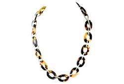 Vintage  - Silver & Lucite Tortoiseshell Necklace