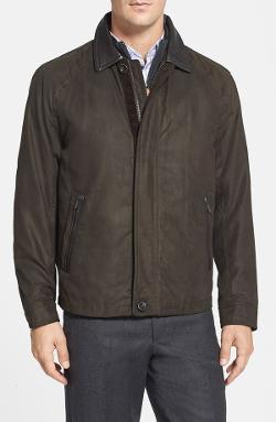 Rainforest - Twill Bomber Jacket With Removable Down Liner And Leather Trim