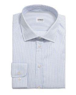 Armani Collezioni  - Textured Pinstripe Grenadine Dress Shirt