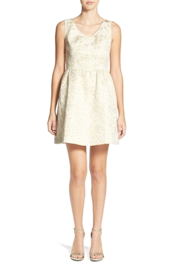 Frenchi  - Metallic Jacquard Fit & Flare Dress