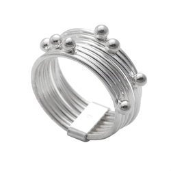 Silverly - Sterling Silver Spinning Stackable 7 Interlinked Joined Layers Ball Bead Ring