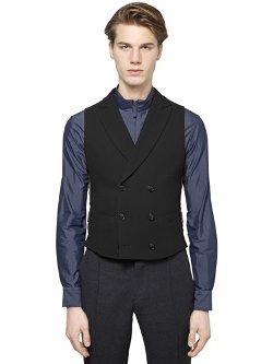 Giorgio Armani  - Stretch Viscose Wool Blend Cloqué Vest