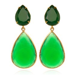 Bounkit  - Faceted Green Onyx Earrings With Removable Drops