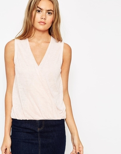 Asos  - Wrap Front In Feather Fabric Top