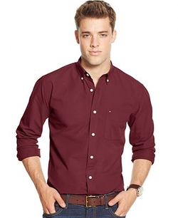 Tommy Hilfiger  - Solid Long-Sleeve Button-Down Shirt