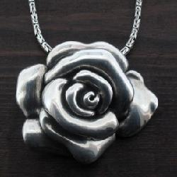 Purple Leopard - 925 sterling silver rose flower pendant