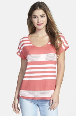 Gibson  - Button Back Short Sleeve Stripe T-Shirt