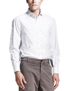 Brunello Cucinelli - Long-Sleeve Windowpane Shirt, White
