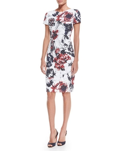 Carolina Herrera  - Rose & Dot-Print Sheath Dress