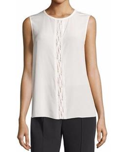 Magaschoni - Sleeveless Jewel-Neck Embellished Silk Blouse