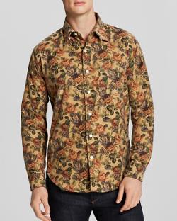 Engineered Garments  - Khaki Floral Flannel Sport Shirt
