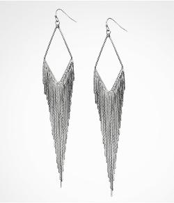EXPRESS - Diamond Shaped Metal Fringe Earrings