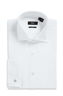 BOSS - Slim Fit, Spread Collar Cotton French Cuff Dress Shirt