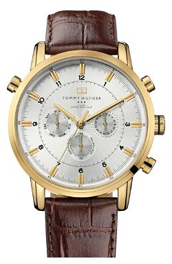 Tommy Hilfiger - Round Chronograph Leather Strap Watch
