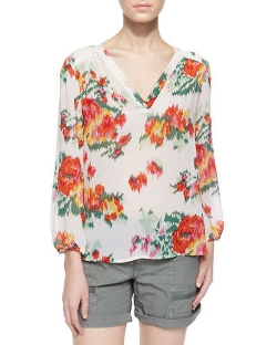 Joie - Axcel Floral Ikat-Printed Silk Blouse