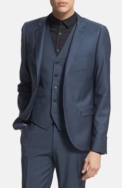 Topman  - Skinny Fit Navy Suit Jacket