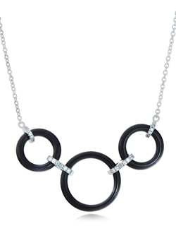 Lord & Taylor - Ceramic Gem Tri-Ring Necklace