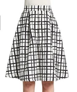 The Vanity Room  - Grid Print Pleated A-Line Skirt