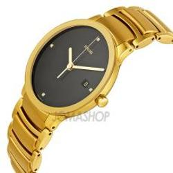 Rado  - Centrix Jubile Black Diamond Dial Gold-Plated Stainless Steel Mens Watch