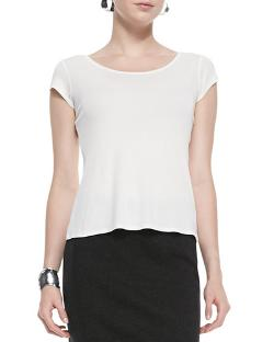 Eileen Fisher   - Silk-Jersey Cap-Sleeve Shirt